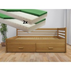 Luxusný set s matracmi Dubai - Rozkladacia posteľ z masívu Klaudia