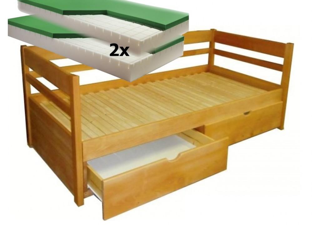 Luxusný set s matracmi Dubai - Rozkladacia posteľ z masívu Monika