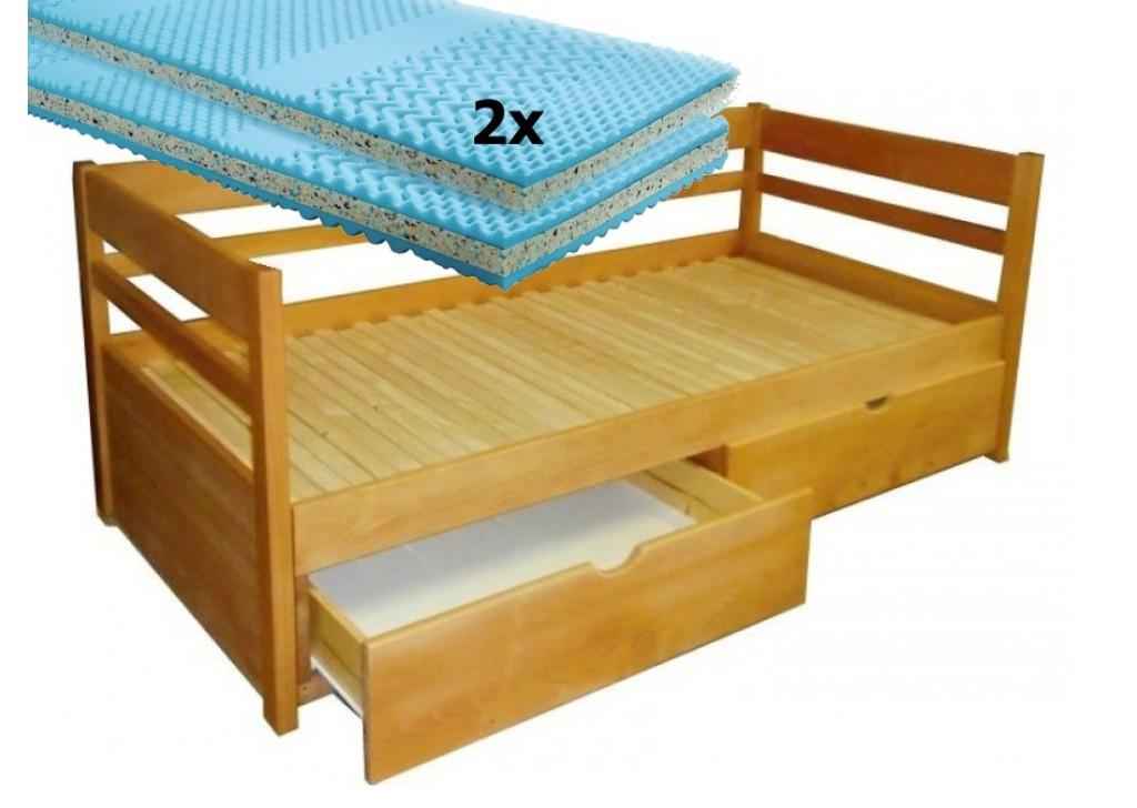 Set s matracmi Sal - Rozkladacia posteľ z masívu Monika