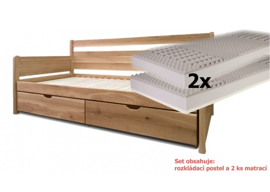 a753812aaf1a -22% Set s matracmi Bali (s pametovou penou) - Rozkladacia posteľ z masívu  Santiago