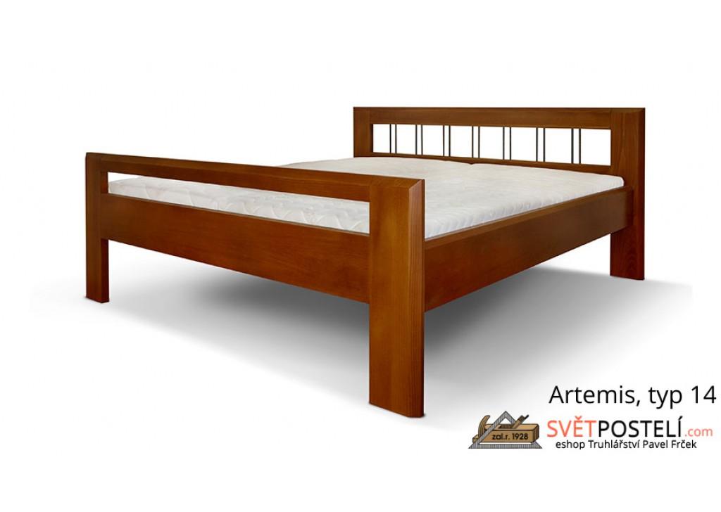 Posteľ z masívu Artemis v kombinácii drevo-kov, typ 14