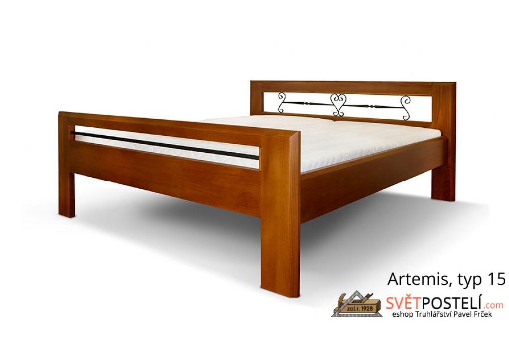 Posteľ z masívu Artemis v kombinácii drevo-kov, typ 15