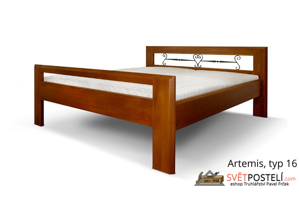 Posteľ z masívu Artemis v kombinácii drevo-kov, typ 16