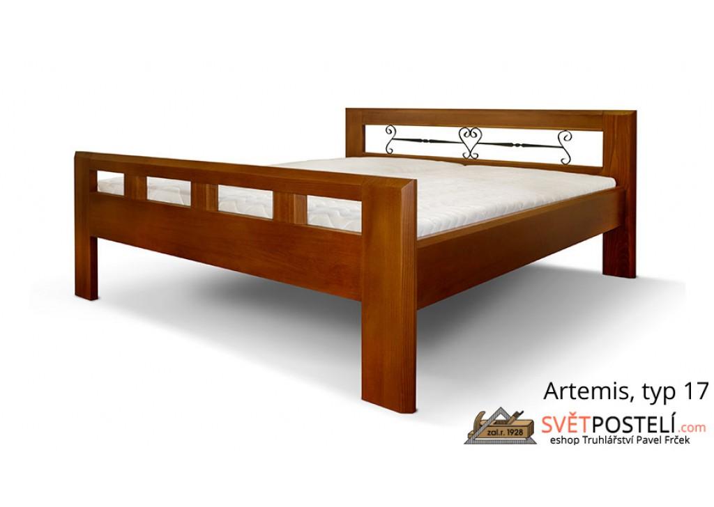 Posteľ z masívu Artemis v kombinácii drevo-kov, typ 17