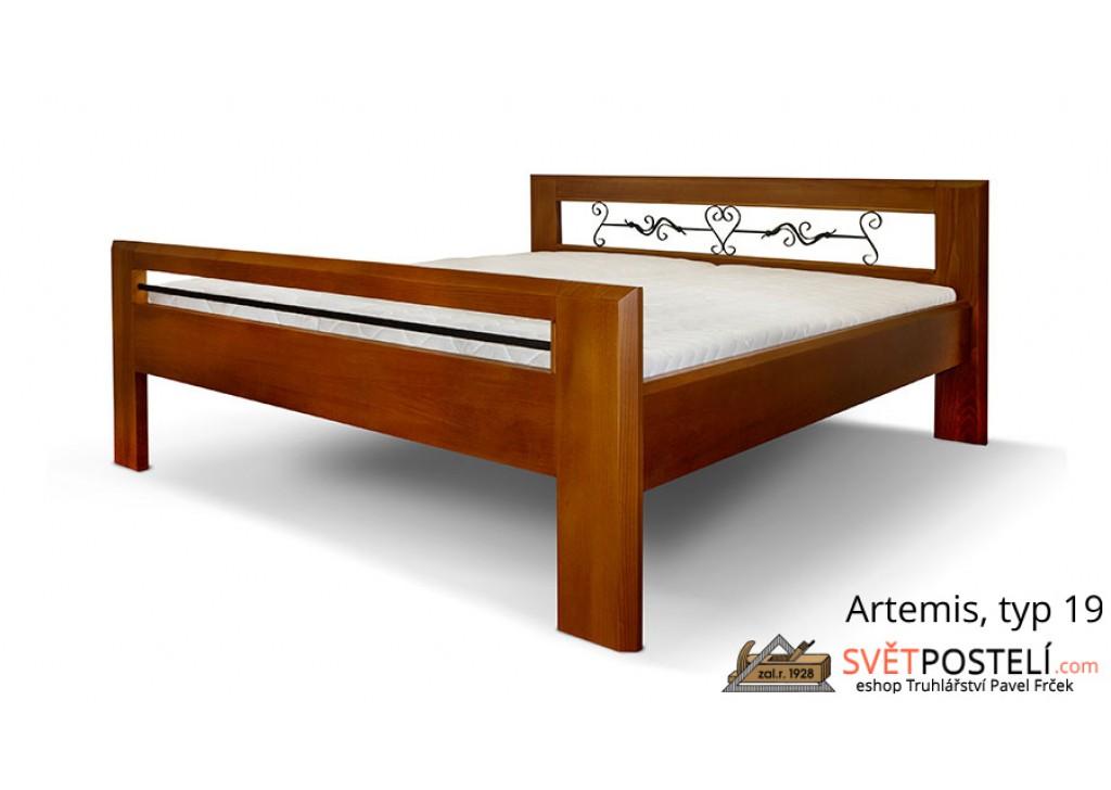 Posteľ z masívu Artemis v kombinácii drevo-kov, typ 19
