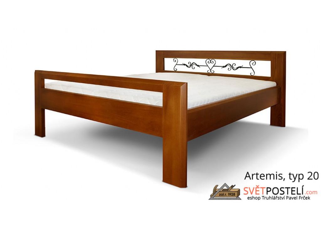 Posteľ z masívu Artemis v kombinácii drevo-kov, typ 20