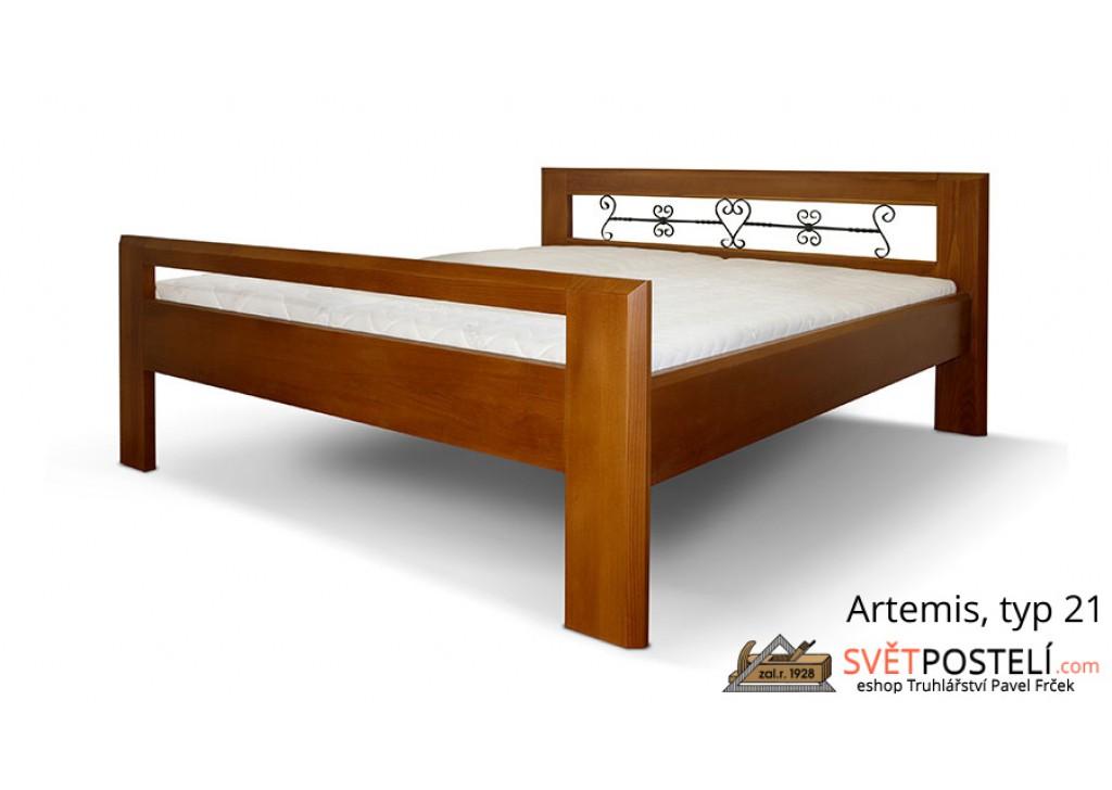 Posteľ z masívu Artemis v kombinácii drevo-kov, typ 21