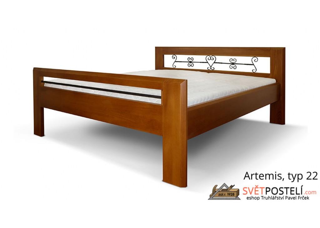 Posteľ z masívu Artemis v kombinácii drevo-kov, typ 22