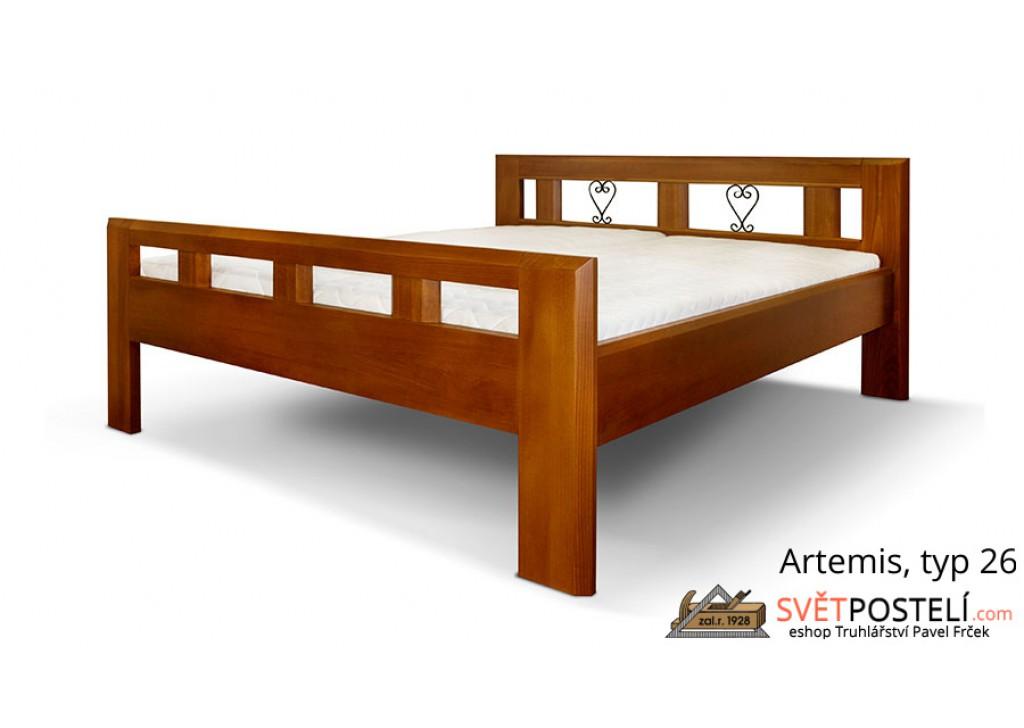 Posteľ z masívu Artemis v kombinácii drevo-kov, typ 26