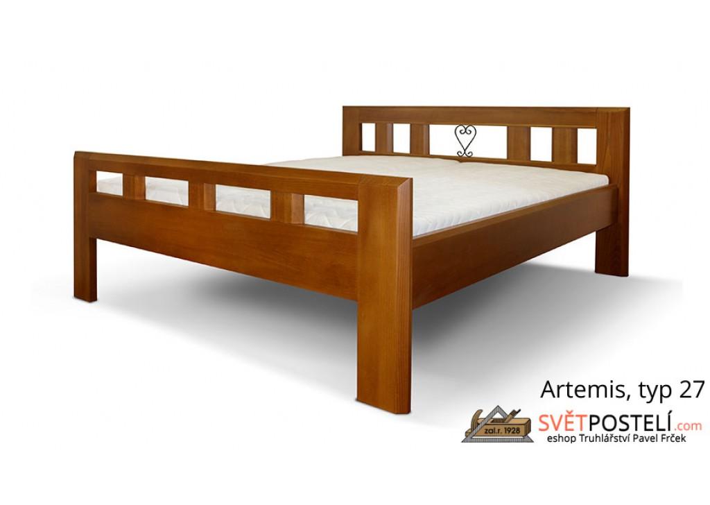 Posteľ z masívu Artemis v kombinácii drevo-kov, typ 27