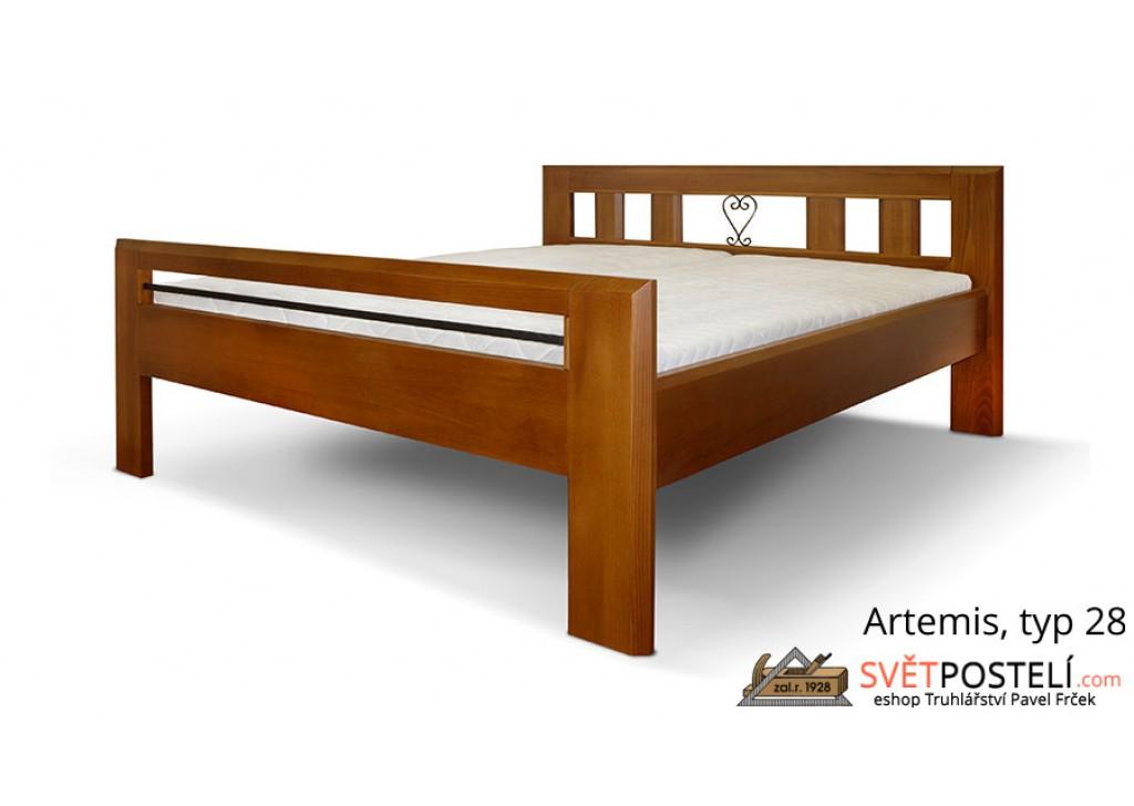 Posteľ z masívu Artemis v kombinácii drevo-kov, typ 28
