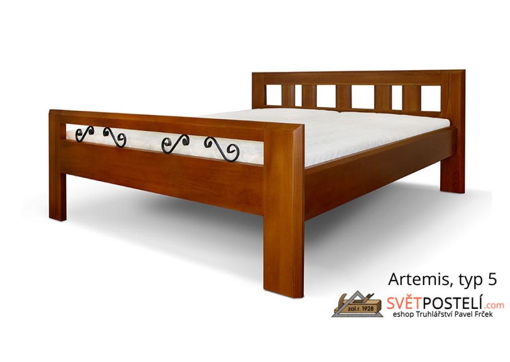 Posteľ z masívu Artemis v kombinácii drevo-kov, typ 5