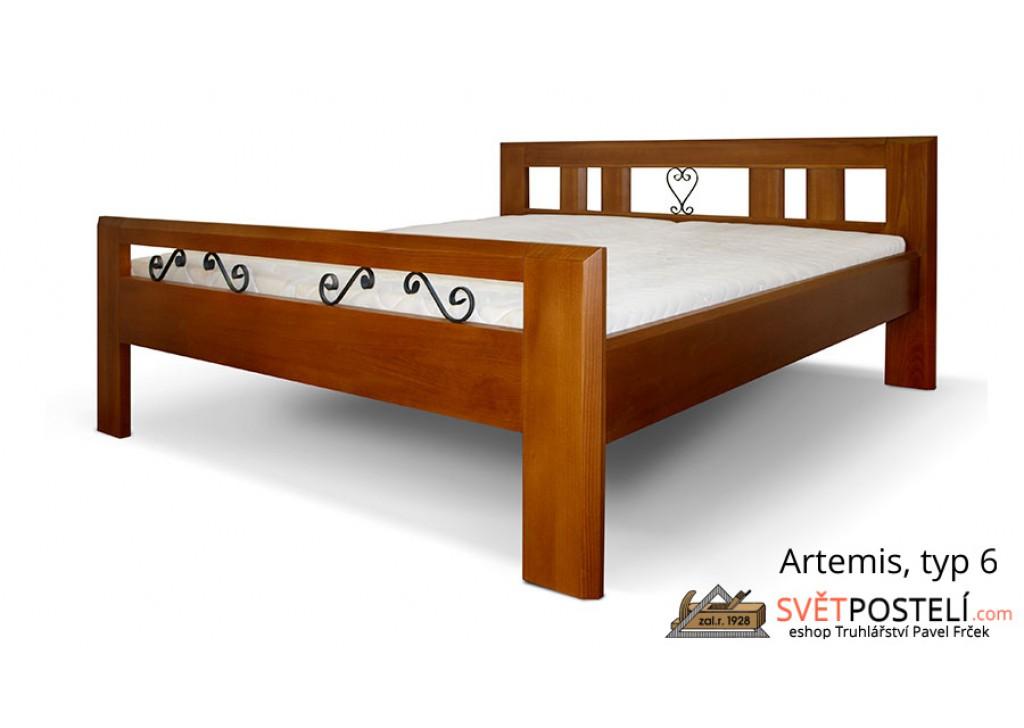 Posteľ z masívu Artemis v kombinácii drevo-kov, typ 6