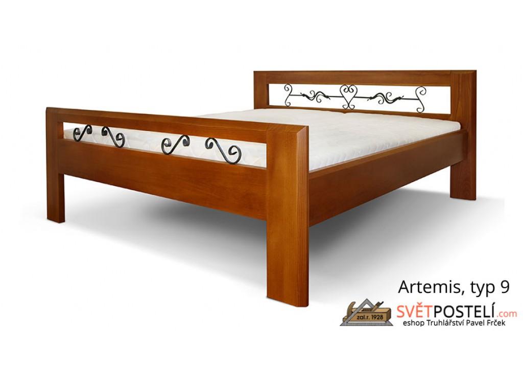 Posteľ z masívu Artemis v kombinácii drevo-kov, typ 9